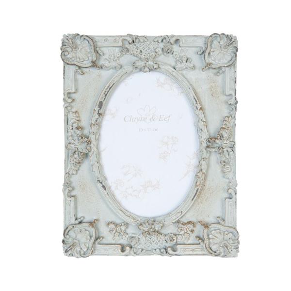 Clayre & Eef 2F0375 Képkeret műanyag szürke 17x22cm,barokkos mintával