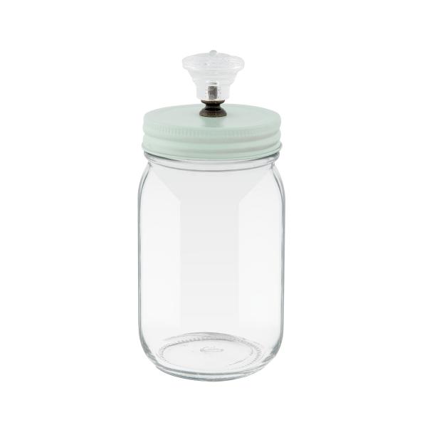 Clayre & Eef 6GL1989 Tároló üveg,fém tetővel,műanyag gombbal 8x16cm,0,35l