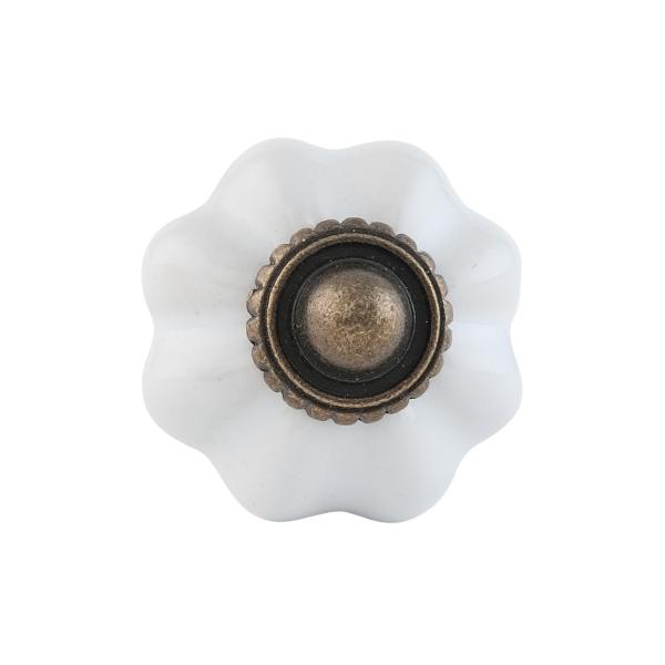 Clayre & Eef 63503 Ajtófogantyú porcelán 3cm, bordázott fehér