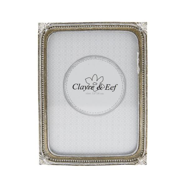 Clayre & Eef 2F0515L Képkeret műanyag 14x19cm/15x18cm ezüst, körben bogyós díszítéssel