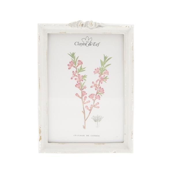 Clayre & Eef 2F0554L Fotókeret rózsás, antik szürke, műanyag, 13x18cm/15x20cm