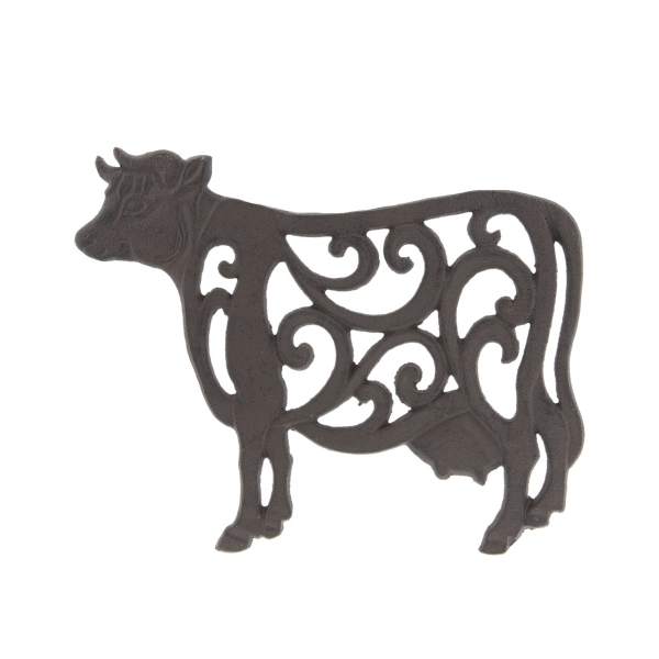 Clayre & Eef 6Y3054 Öntöttvas edényalátét tehén, 27x21x2cm