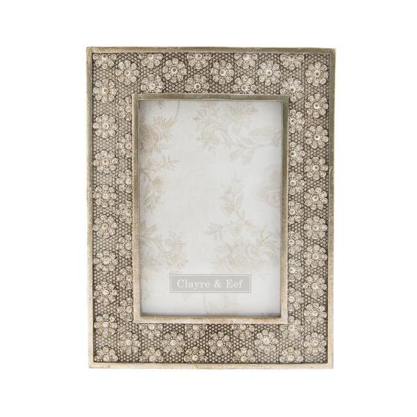 Clayre & Eef 2F0563 Képkeret műanyag virágos 16x21cm, 13x18cm, antik arany