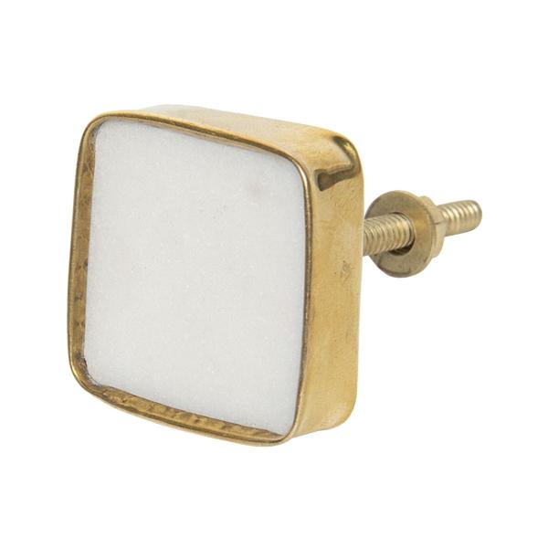 Ajtófogantyú Szögletes Fehér Kő Aranyszínű Fémkerettel