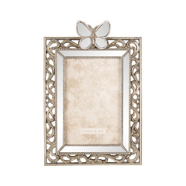 Clayre & Eef 2F0600 Fotókeret pillangós, tükrös, antik ezüstös,műanyag, 16x24cm