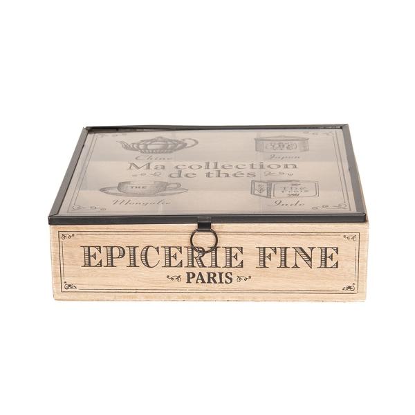 Clayre & Eef 6H1799 Fa teásdoboz üveg tetővel, 9 fakkos, 24x24x7cm, fekete rajzos