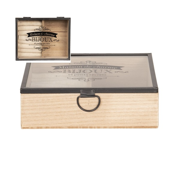 Clayre & Eef 6H1800 Ékszertartó fadoboz üvegtetővel 18x15x6cm, barna