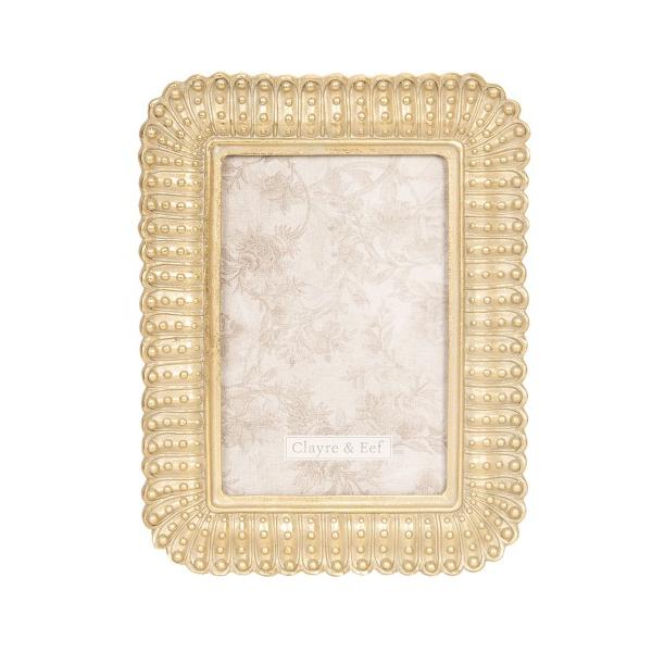 Clayre & Eef 2F0609 Képkeret antikolt arany 16x21cm/10x15cm, műanyag