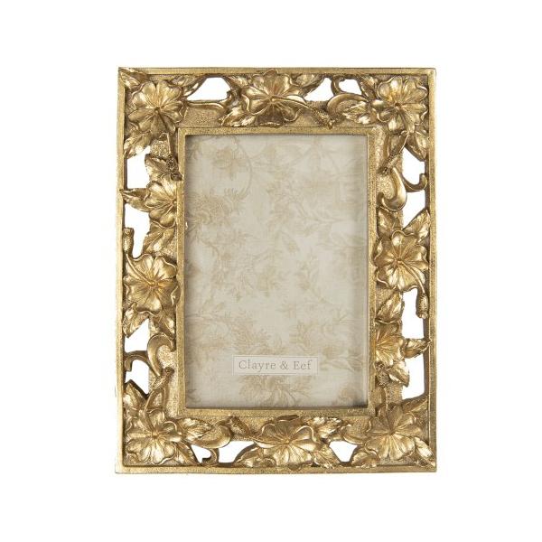 CLEEF.2F0699 Képkeret műanyag, 16x21/10x15cm, arany színű virágos