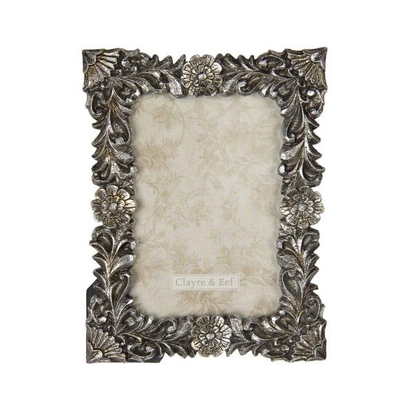 CLEEF.2F0712 Képkeret műanyag, 20x15/10x15cm, ezüstös virágos