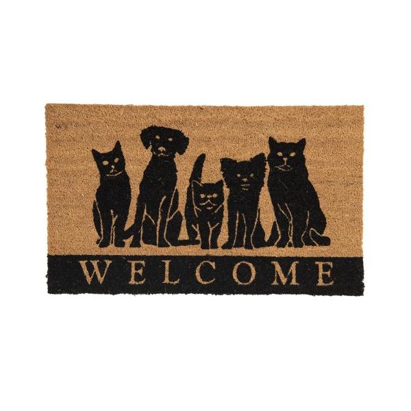 Lábtörlő 75x45cm, kókusz-PVC, kutyák-cicák