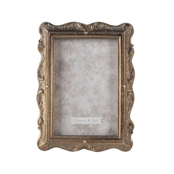 CLEEF.2F0830 Antikolt aranyszínű képkeret 19x24cm/13x18cm, műanyag