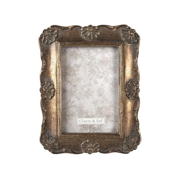 CLEEF.2F0829 Antikolt aranyszínű képkeret 17x21cm/10x15cm, műanyag