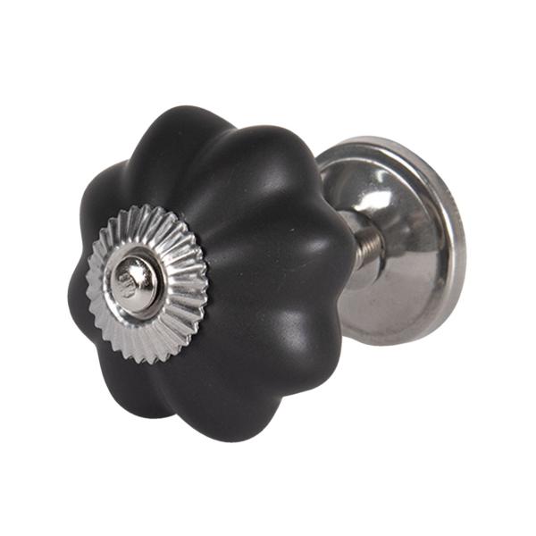 Clayre & Eef 64379 Ajtófogantyú gomb 4cm kerámia, matt fekete