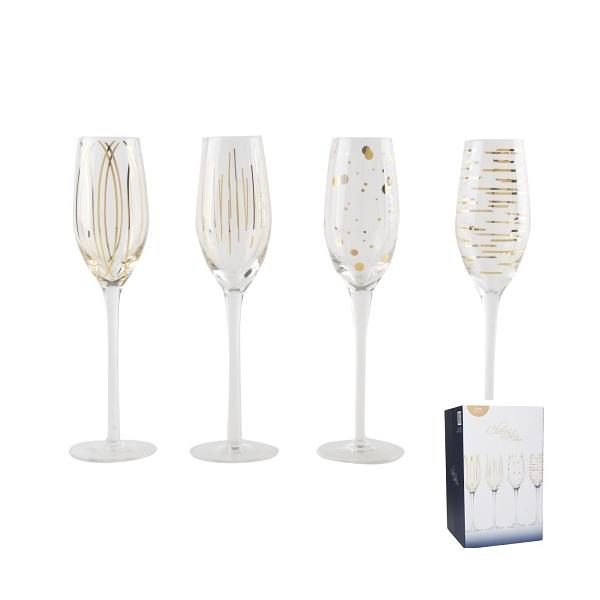 C.T.5140630 Üvegkristály pezsgőspohár szett 4db-os, 210ml, fényes arany mintás, Mikasa Cheers