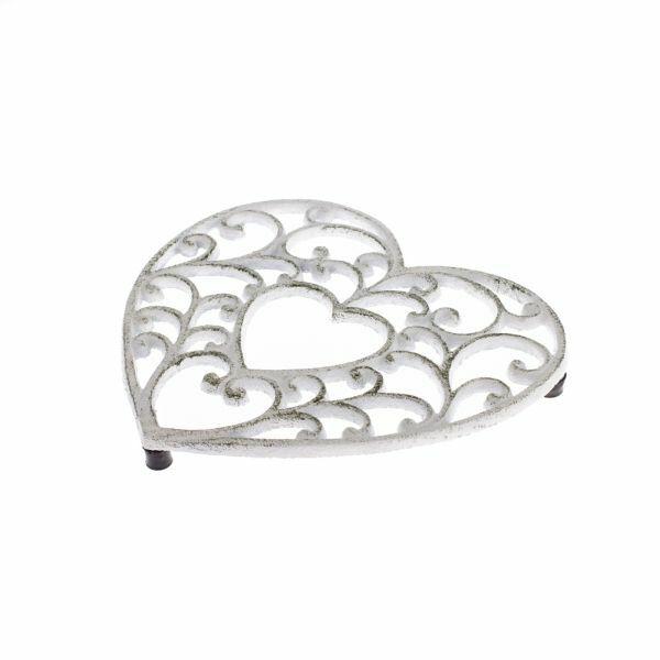 Antik fehér öntöttvas szív edényalátét 18,5x17cm