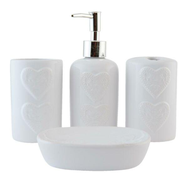 Kerámia fürdőszoba szett, fehér dombornyomott szives