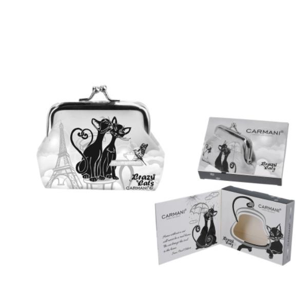 H.C.021-3815  Műbőr pénztárca 9x7,5x2cm, fekete macskás