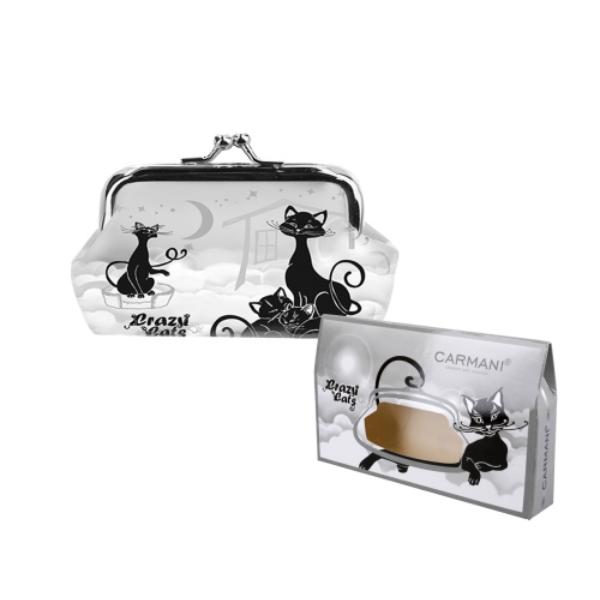 H.C.021-4411  Műbőr pénztárca 20x10x10 cm, fekete macskás