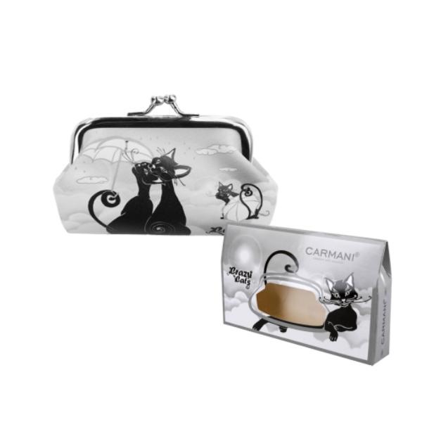 H.C.021-4412  Műbőr pénztárca 20x10x10 cm, fekete macskás