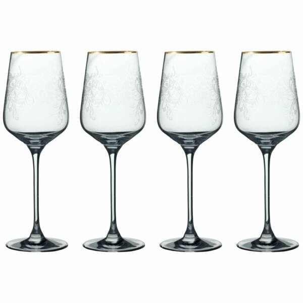 Virágos kristályüveg fehérboros pohár arany csíkkal, 4db-os szett,350ml, V&A