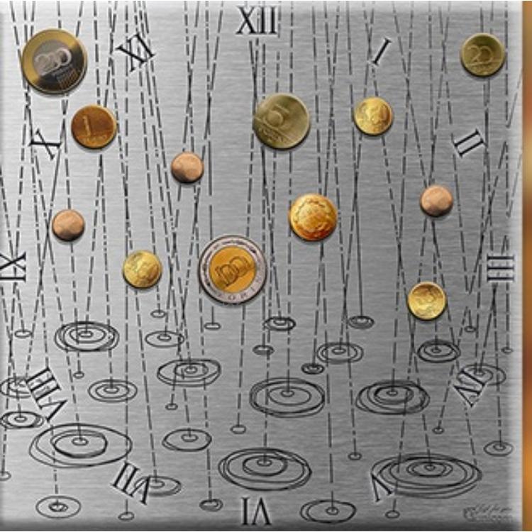 D.I.19-09 Üveg falióra 30x30cm-pénzeső-ezüst