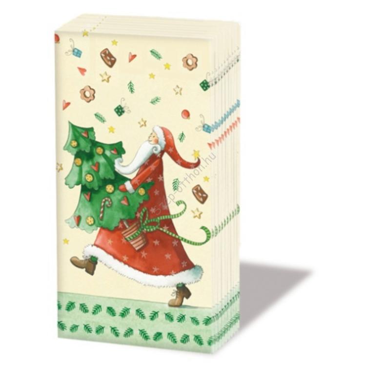 PPD.SNIFF050782 Santa with Tree papírzsebkendő,10db-os
