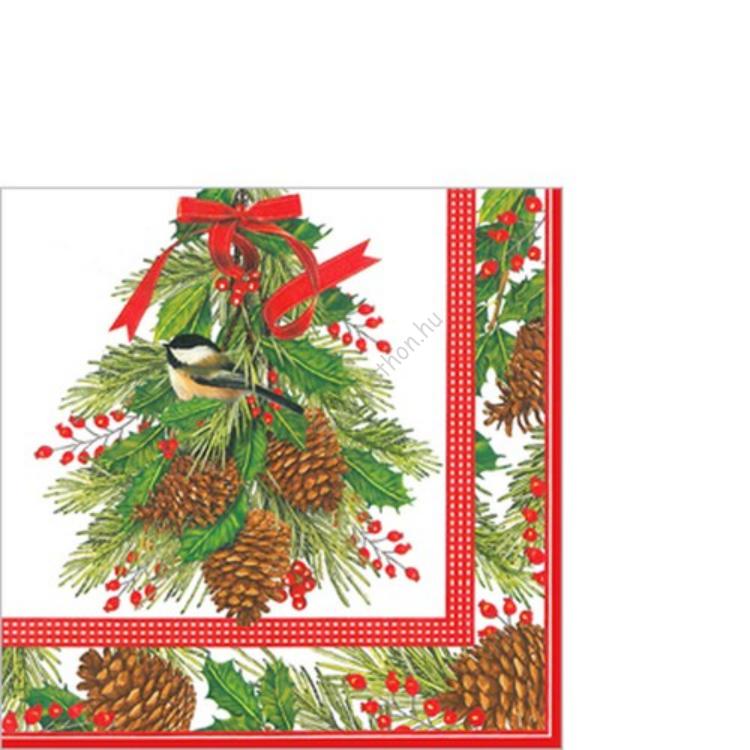 PPD.C007108 Holly and Pine papírszalvéta 33x33cm,20db-os