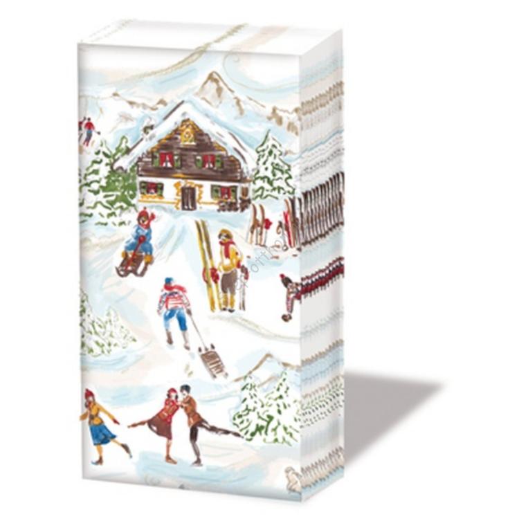 PPD.SNIFF051060 Vintage Ski papírzsebkendő,10db-os