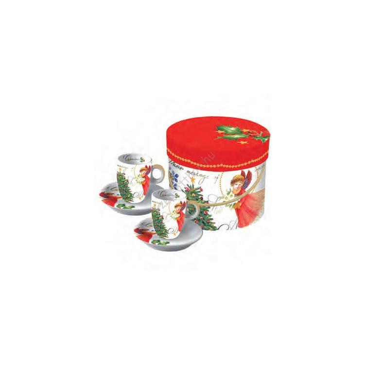 PPD.P602152 Porcelán espressós csésze tányérral 0,1l,2 személyes dobozban,Christmas Eve