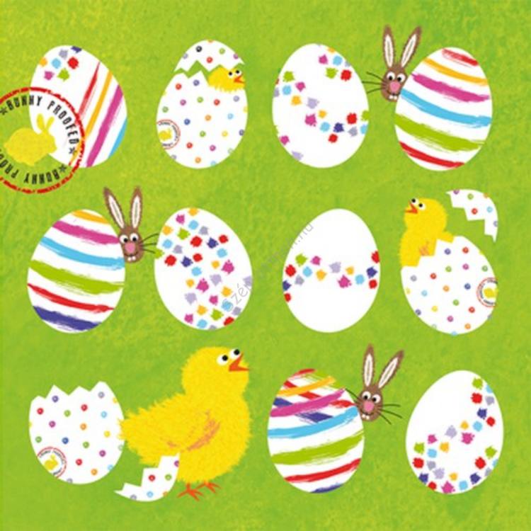 PPD.C1331882 Eggs allover green papírszalvéta 33x33cm,20db-os