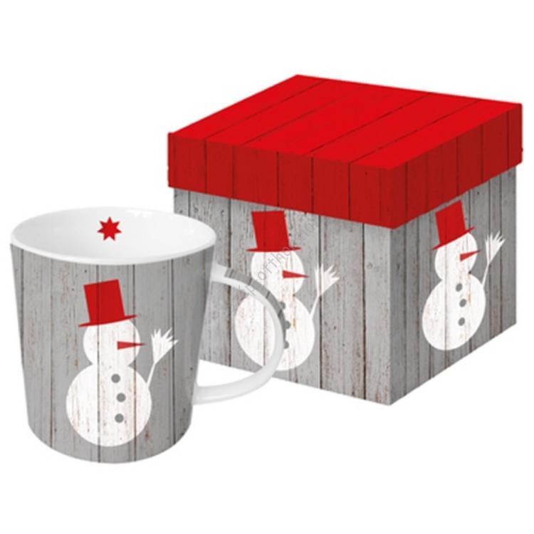 Porcelán bögre 0,35l dobozban,Snowman on wood