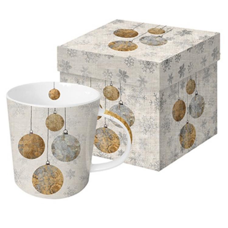 PPD.M603166 Porcelán bögre 0,35l dobozban, Holiday Ornaments