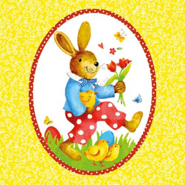 PPD.C1331515 Happy Rabbit yellow papírszalvéta 33x33cm,20db-os