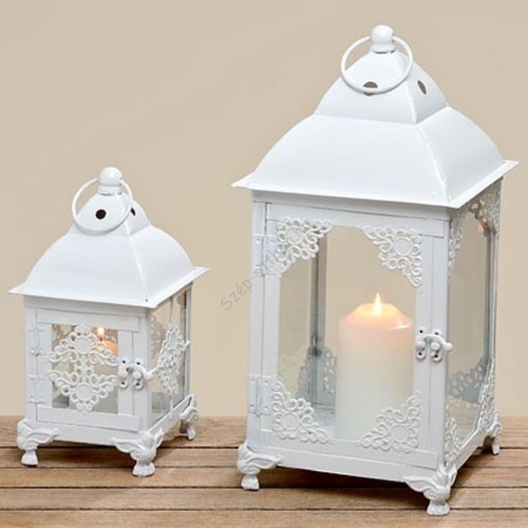 V.B.28630 Fehér csipkés lantern szett S/2 27-40cm