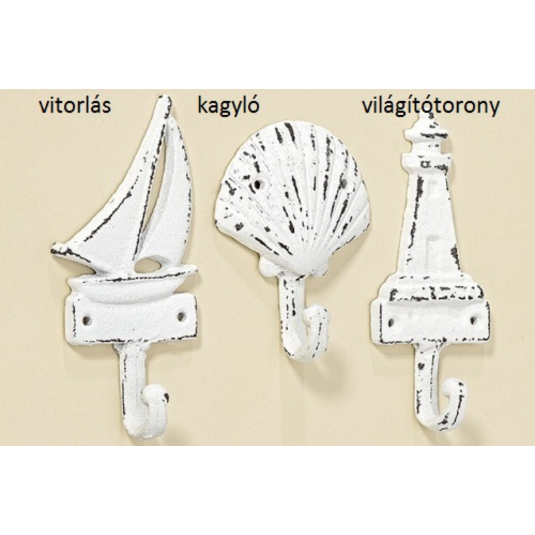 W.B.1002584 Antik fehér fém tenger fogas 11cm