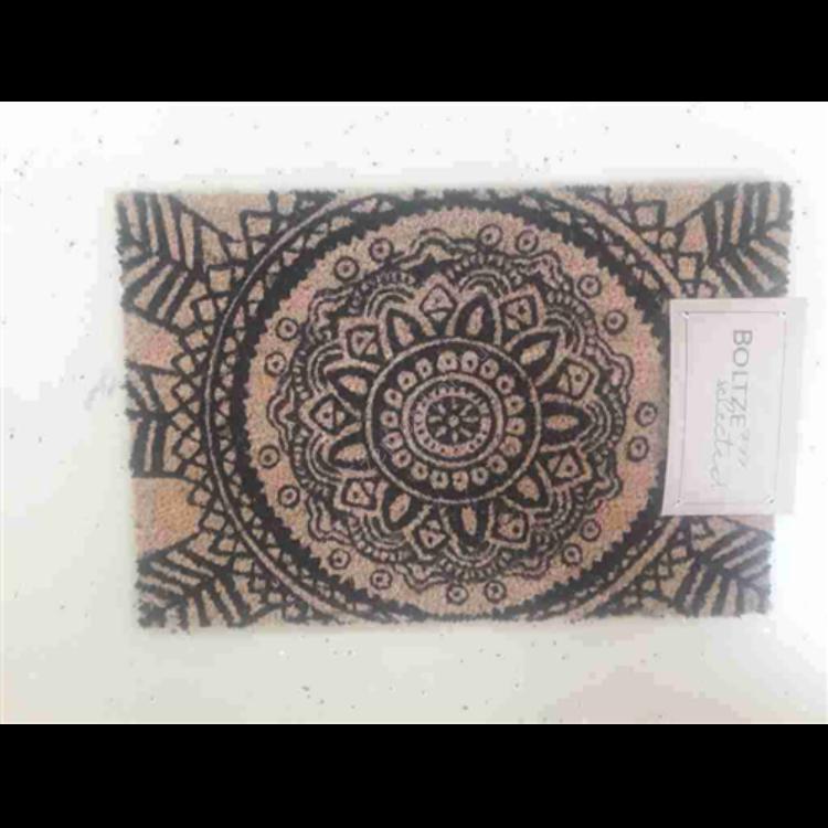Kókusz lábtörlő 60x40cm fekete mozaikos