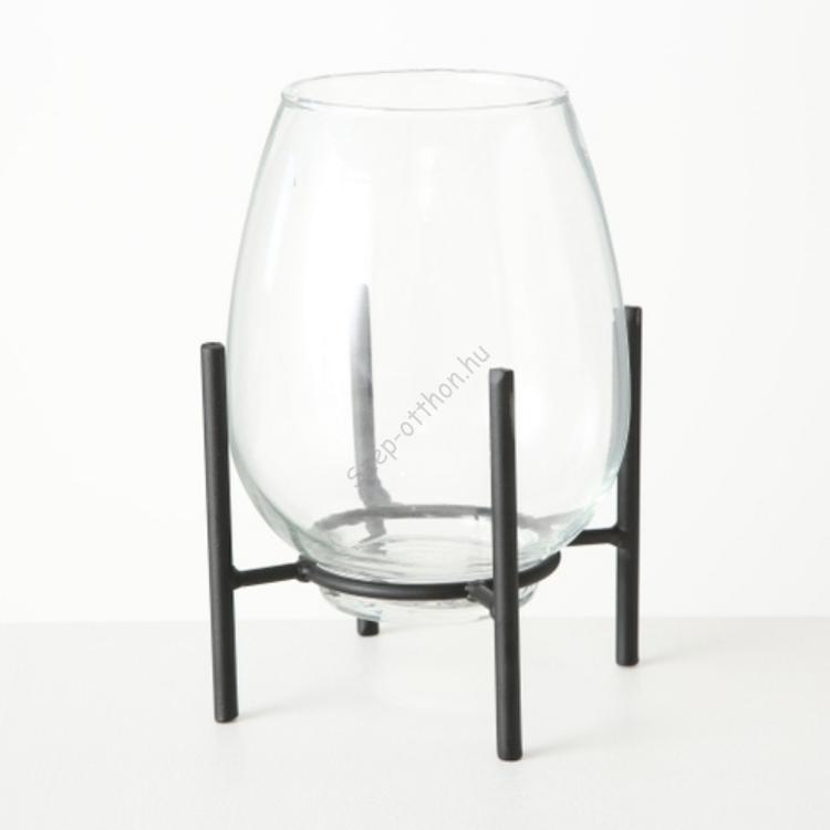 B.B.1018029 Üvegváza/gyertyatartó fémállványon, 21x15cm