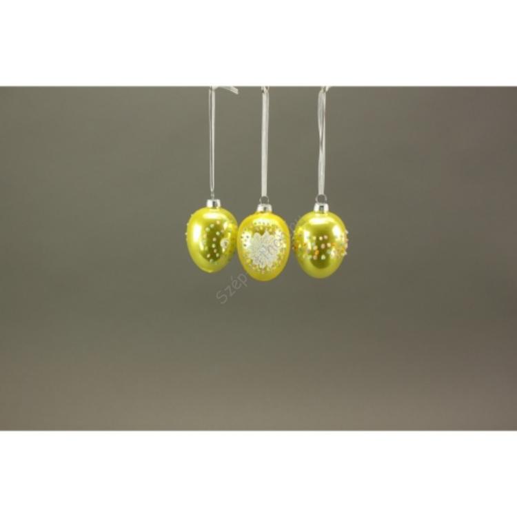 W.V.28764  Üveg tojás rátét díszítéssel 6cm, sárga