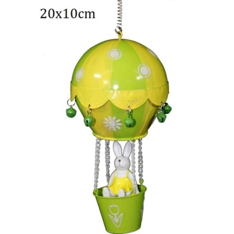 P.P.IM-A-85714 Nyuszi hőlégballonban 20x10cm, fém függődísz