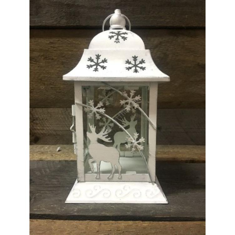 D.P.AD0447 Fehér fém lantern  szarvasos-hópelyhes 13x13x23cm