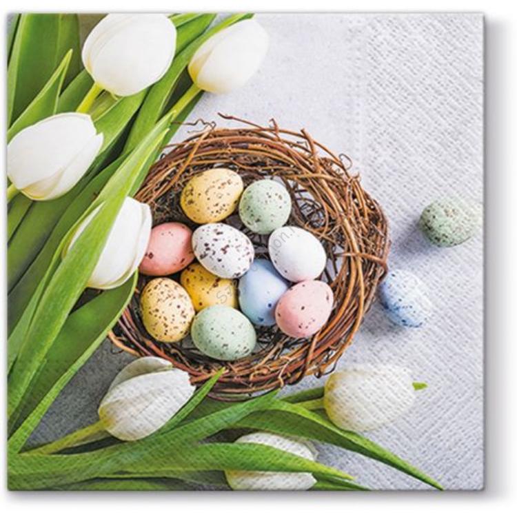 P.W.SDL062200 Eggs and Tulips papírszalvéta 33x33cm, 20db-os