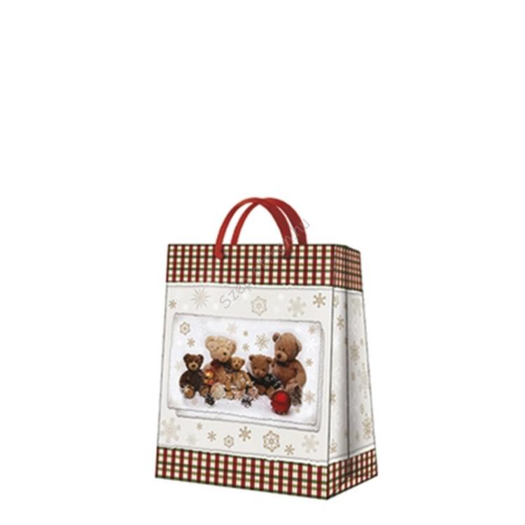 P.W.AGB021303 Teddy bear Family papír ajándéktáska medium20x25x10cm
