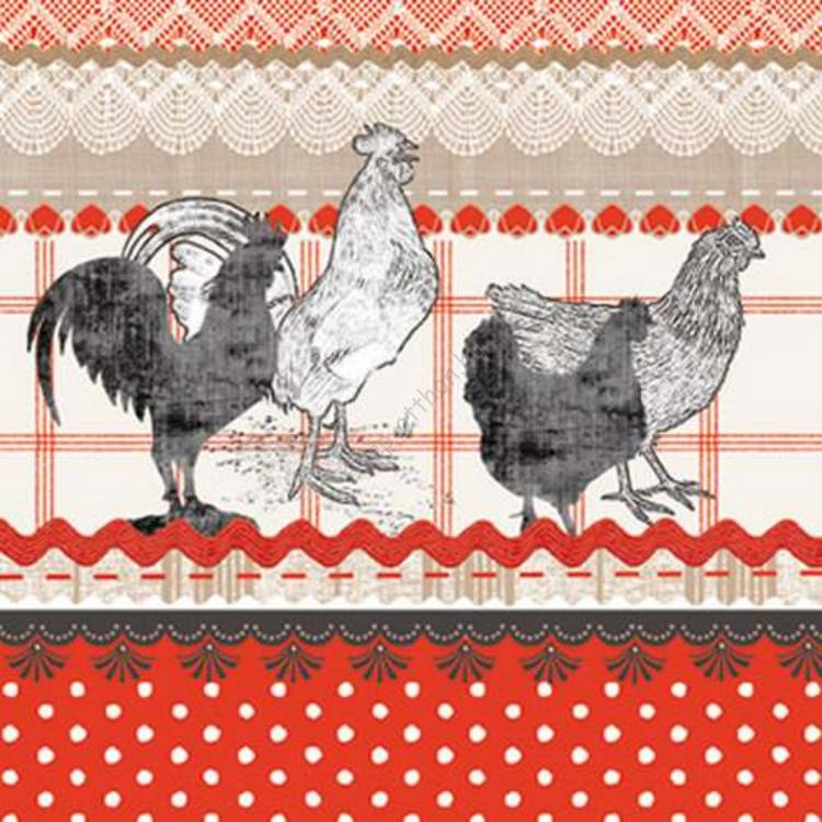 P.W.SDC842000 The cry of rural rooster papírszalvéta 25x25cm,20db-os