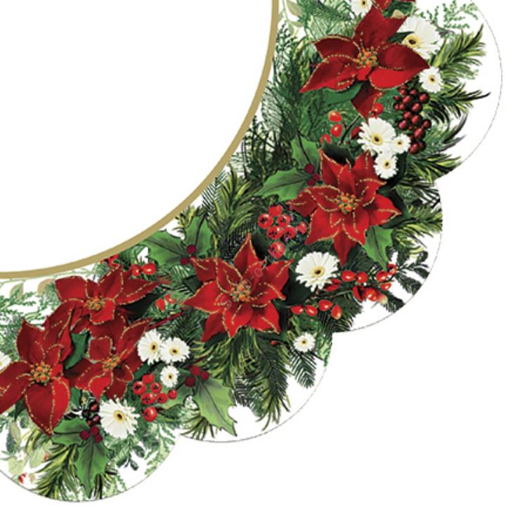 P.W.SDR059700 Poinsetia wreath white papírszalvéta dia 32cm,12db-os
