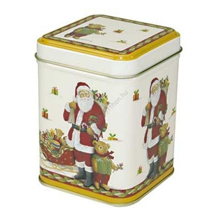 T.M.65151728 Santa and Teddy konyhai fémdoboz 71x71x93mm