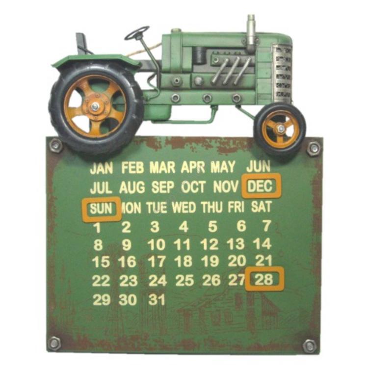 Clayre & Eef JJTR0007 Fém falikalendárium traktoros 34x28x6cm