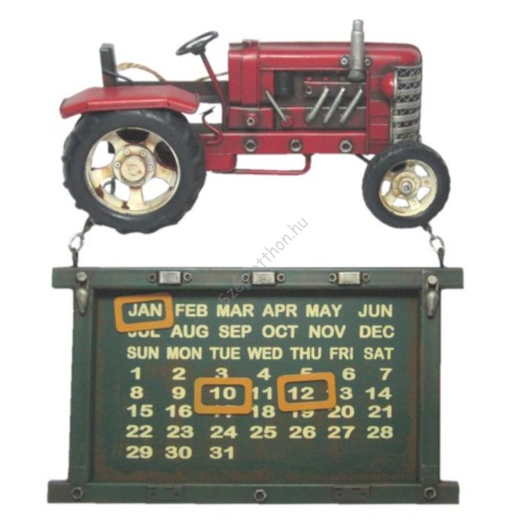 Clayre & Eef JJTR0008 Fém falikalendárium traktoros 30x28x6cm