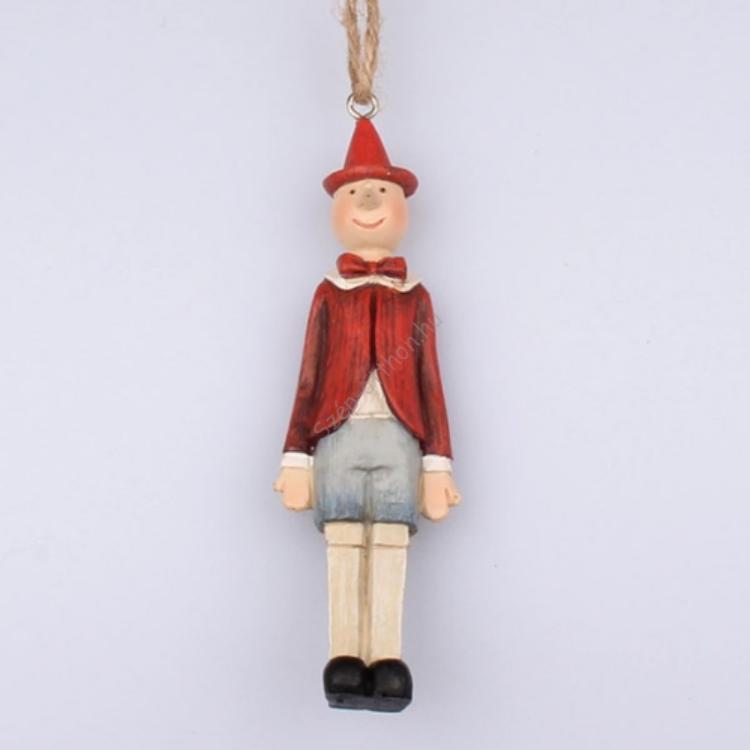 DAK.AND-018 Pinokkió piros kabátos, 3x11x2cm, műanyag
