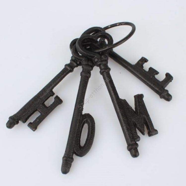 D.LS059 Öntöttvas kulcscsomó HOME, barna 6x16cm